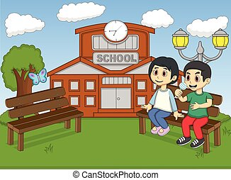Children in the school park cartoon