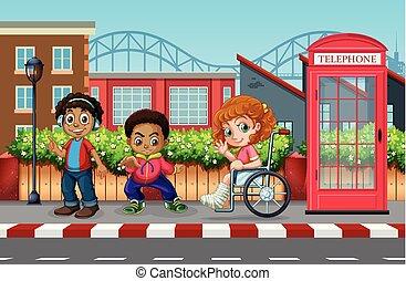 Children in the urban city