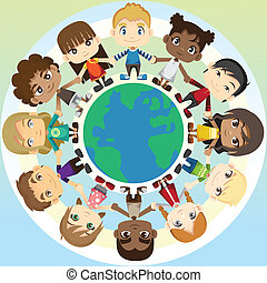 A vector illustration of multi ethnic group of children holding hands around the globe