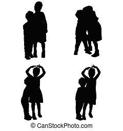 children in various pose silhouette illustration