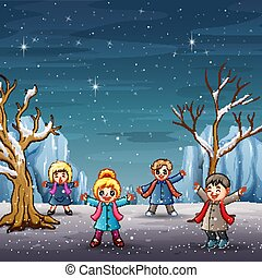 Children in winter clothes on snowy forest