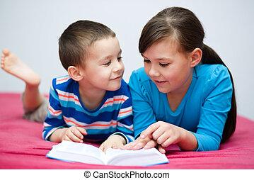 Children is reading book