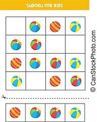 children., juguete, lindo, juego, sudoku, balls., caricatura