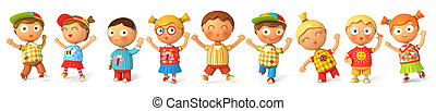 Children jump for joy. Banner. Isolated on white background....