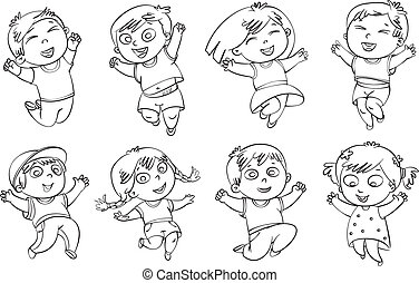 Children jump for joy. Coloring book. Vector illustration....