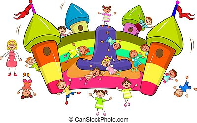 Children jump on an inflatable slide - Happy children play ...
