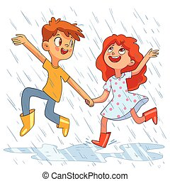 Children jumping in the rain. Kids walk in the rain without an umbrella