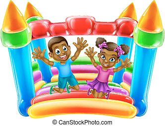 Children Jumping on Bouncy Castle - A young black boy and...