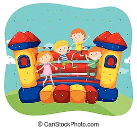 Children jumping on the bouncing house illustration