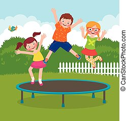 Children jumping on the trampoline - Stock Vector cartoon...