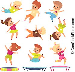Children jumping on trampolines. Cartoon boys and girls in different flying poses. Kids bounce and play. Childish fitness. Young people doing gymnastics exercises. Vector active games
