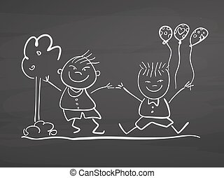 Children jumping with ballons. Drawing on chalkboard.