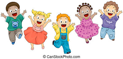 Children Jumping with Clipping Path