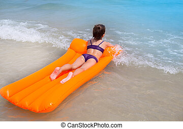 children kid girl playing in beach floating lounge -...