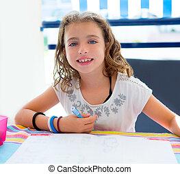 children kid girl smiling with homework in summer