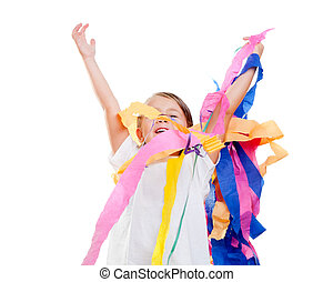 children kid in a party with messy colorful paper ribbon