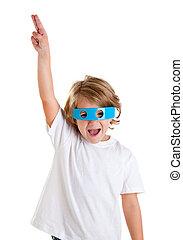 children kid with futuristic funny blue glasses happy