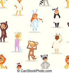 Children kids animal costumes vector characters Christmas...