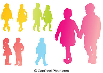 Children, kids in school vector background concept