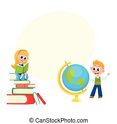 Children learn, girl reading, boy studying globe