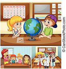 Children learning in classroom with teacher