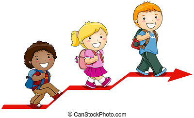 Children Learning with Clipping Path