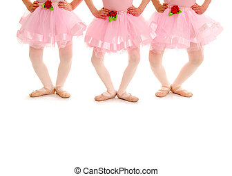 Three small girls in Ballet Recital Costume and Slippers pose in Plie