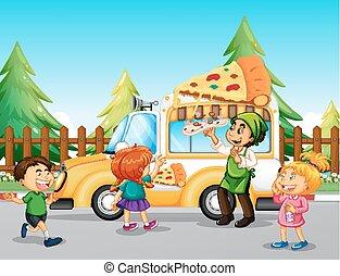 Children line up at pizza truck illustration