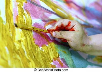 children little artist painting hand brush colorful...