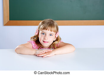 children little blond girl student on classroom