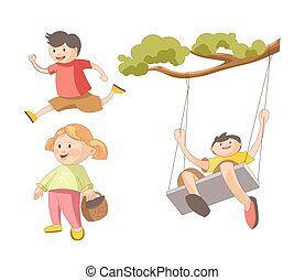 Children little boys girls playing toys and outdoor games vector flat icons