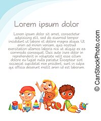Children look up with interest. Colorful template for...