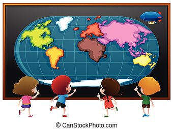 Children looking at worldmap poster