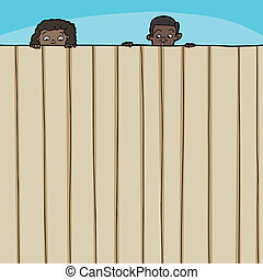 Children Looking Over Fence - Curious boy and girl looking...