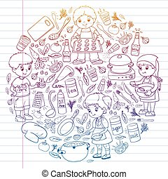 children., mały, wektor, gotowanie, zdrowy, klasa, dzieciaki, eating., icons., próbka