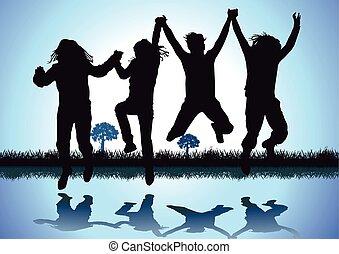 Children make a leap of joy