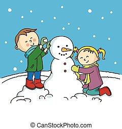 children making a snowman