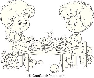 Children making plasticine toys