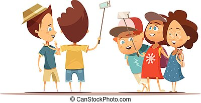 Children Making Selfie Cartoon Style Illustration