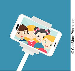 Children making  selfie photo. Cartoon illustration.