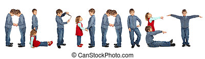 children making word ALPHABET collage