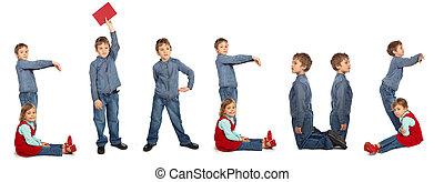 children making word CIRCUS collage