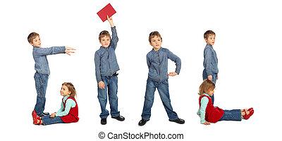 children making word GIRL collage