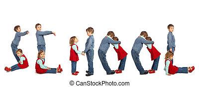 children making word SCHOOL collage