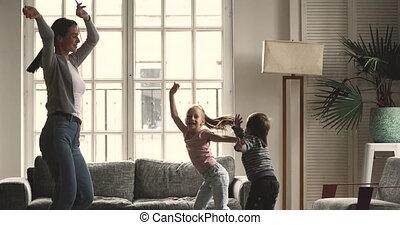 children., mama, jonge, kinderjuffrouw, dancing, actief, ...