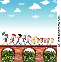Children marching on the bridge