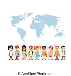 Children Mix Race Group Over World Map International Concept