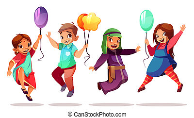 Children nationalities with vector balloons