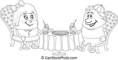Children near table, isolated, contour