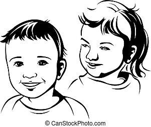 children-, noir, contour, illustration